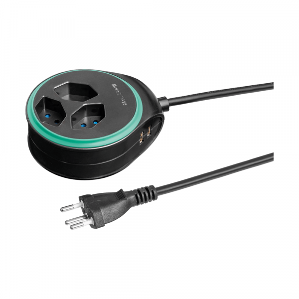 Round socket strip with USB port