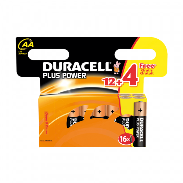 Duracell Plus Power, 12+4 pack, AA