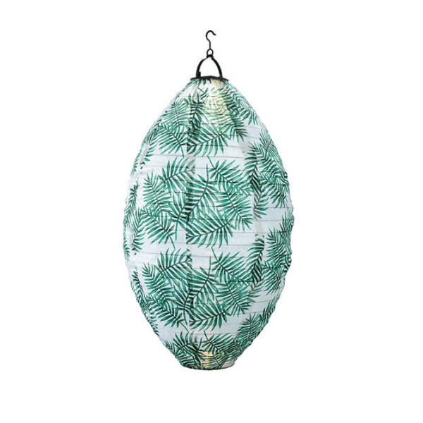 Chinese Drop Lantern, solar-powered, palm frond design (indoor/outdoor)