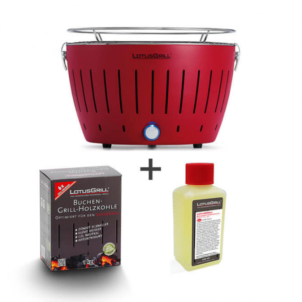 LotusGrill set, red, including lighter gel (200 ml) and charcoal (1 kg)