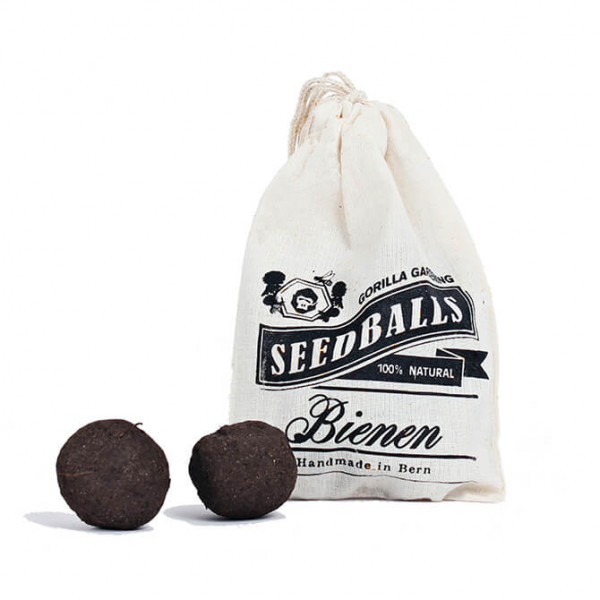 Bee seed balls in a cotton bag