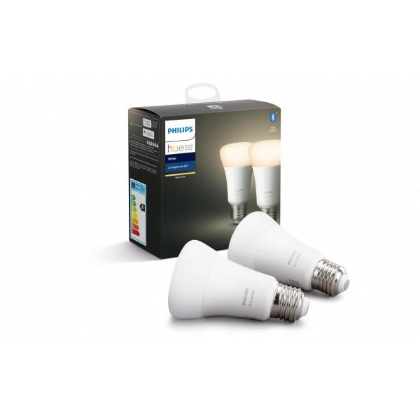 Philips Hue Leuchtmittel White,  9.5 W, E27, 2 Stück, BT