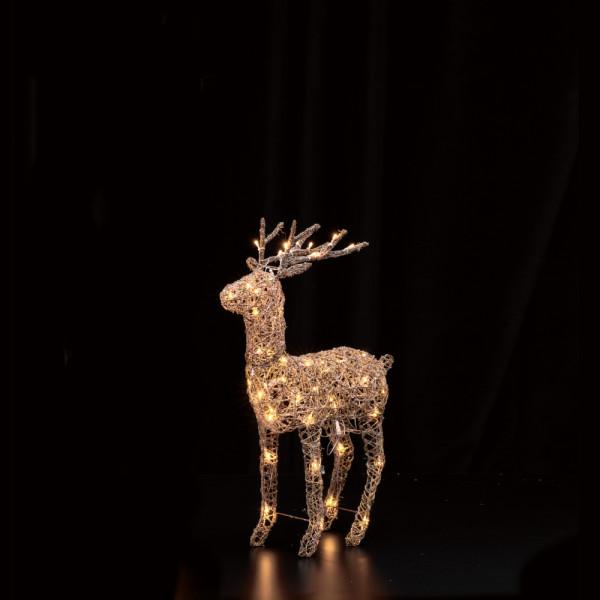 LED Brown Rattan Deer H70cm