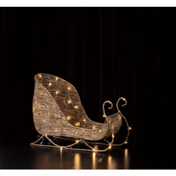 LED Brown Rattan Sleigh 90 (H90cm)
