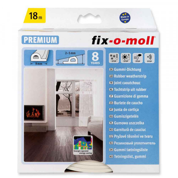 Fix-o-moll Weatherstrips P-Profile,  18m, white